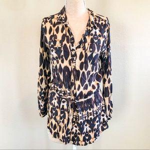 Calvin Klein Button Down Leopard Print Blouse